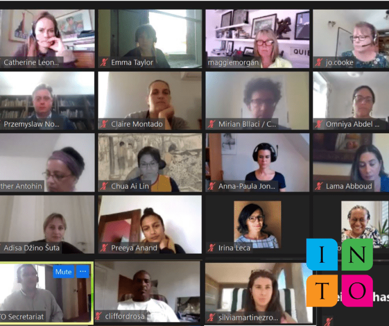 Participants around the world collaborating online.