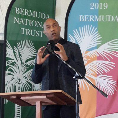 Gus Casely-Hayford addressing INTO Bermuda 2019