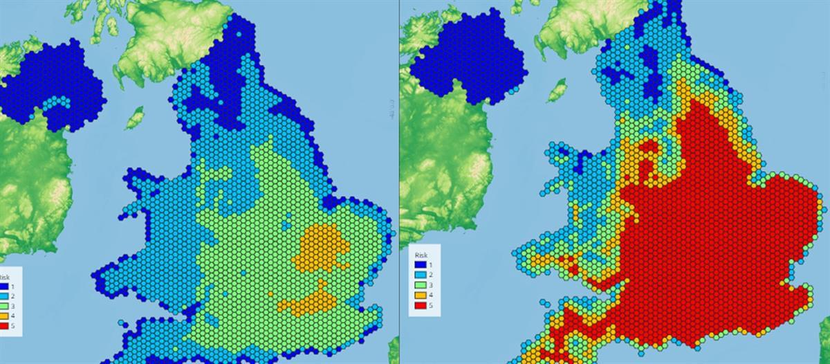 National Trust Hazard Map illustrating climate vulnerability