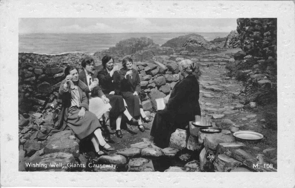 Community at Giants Causeway - archive postcard
